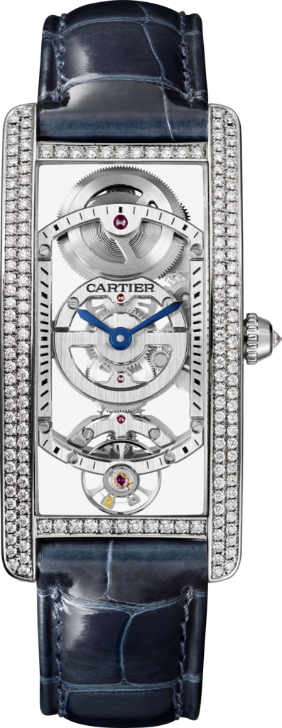 Tank Cintrée watchLarge model, hand-wound mechanical movement, platinum, diamonds