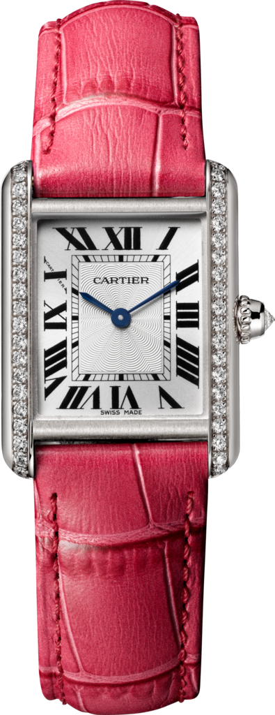 Tank Louis Cartier watchSmall model, hand-wound mechanical movement, white gold, diamonds, leather