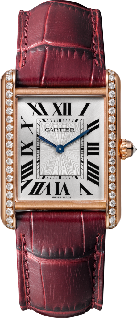 Tank Louis Cartier watchLarge model, hand-wound mechanical movement, rose gold, diamonds, leather