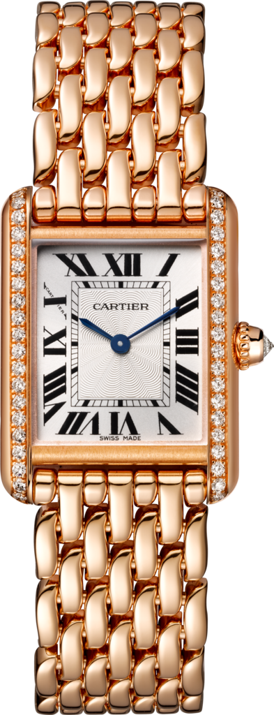 Tank Louis Cartier watchSmall model, hand-wound mechanical movement, rose gold, diamonds