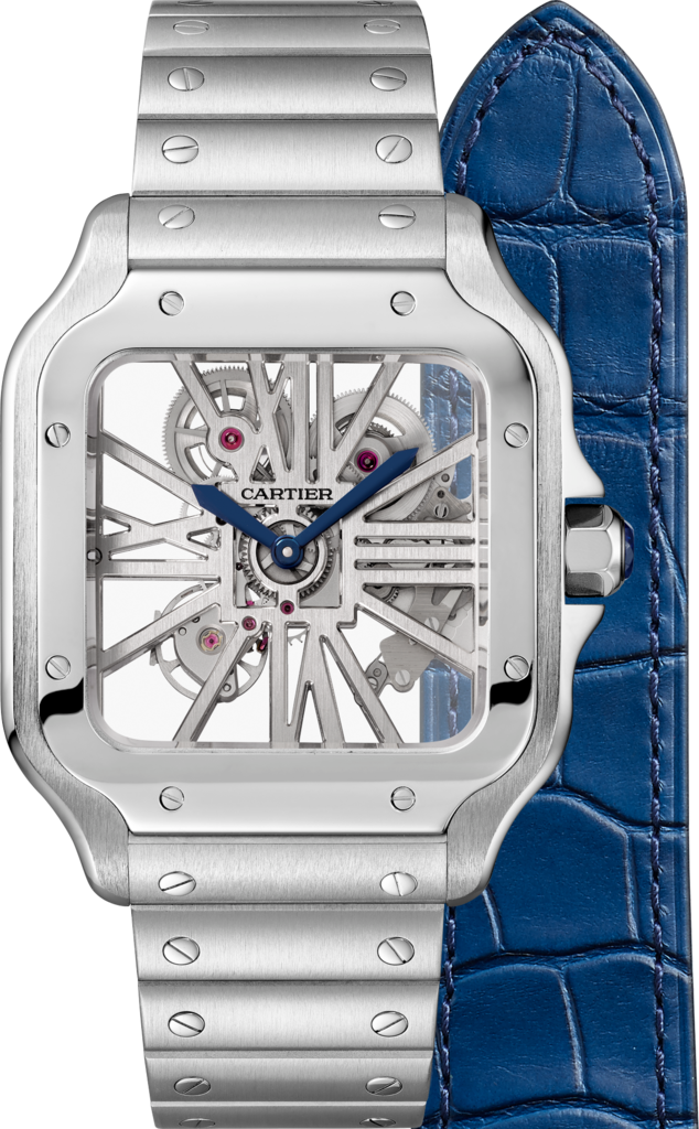 Santos de Cartier Skeleton watchLarge model, hand-wound mechanical movement, steel, interchangeable metal and leather bracelets