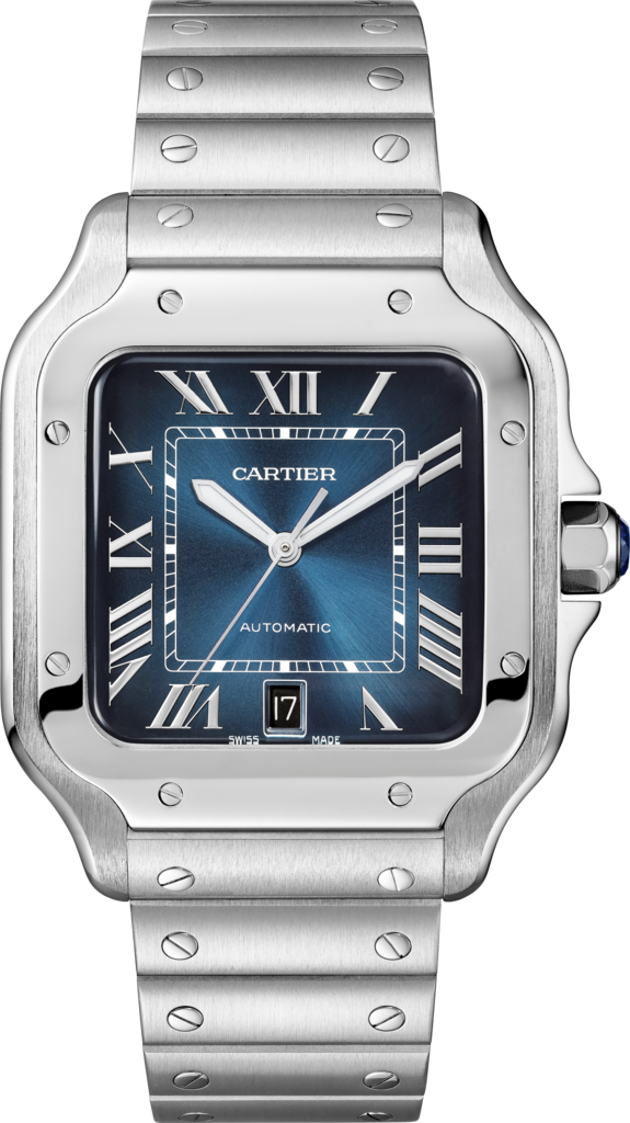 Santos de Cartier watchLarge model, automatic, steel, interchangeable metal and leather bracelets
