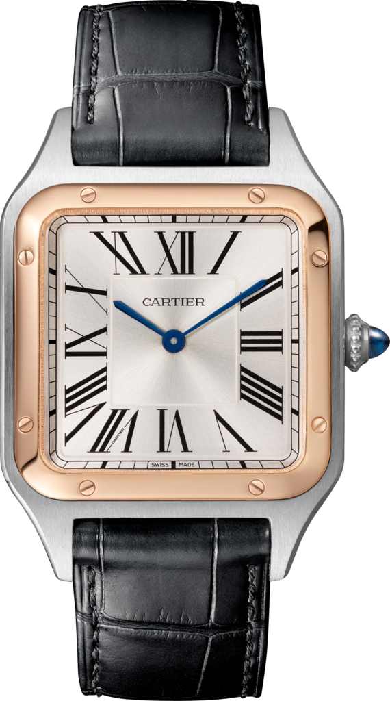 Santos-Dumont watchLarge model, quartz movement, rose gold, steel, leather