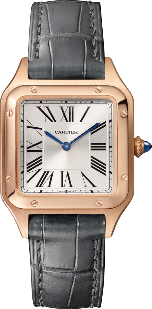 Santos-Dumont watchSmall model, rose gold, leather