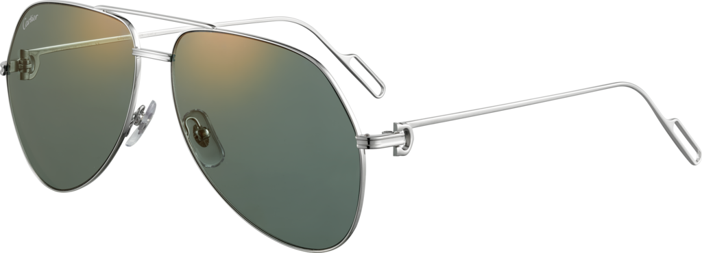 Première de Cartier sunglassesPlatinum-finish metal, green lenses with golden flash