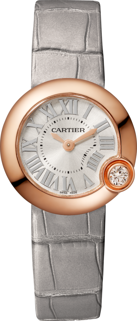 Ballon Blanc de Cartier watch26 mm, rose gold, diamond, leather
