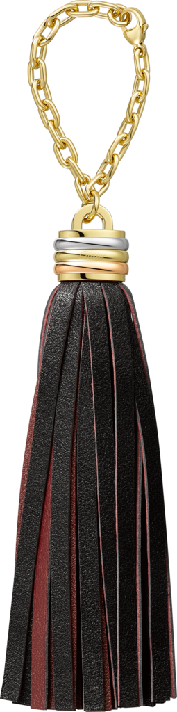 Trinity tassel key ring in green and blackBlack and burgundy calfskin, golden-finish, palladium-finish and rose golden-finish metal, chain.