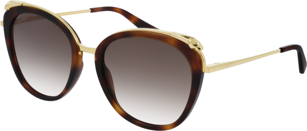 Panthère de Cartier sunglassesCombined tortoiseshell composite and champagne golden-finish metal, graduated brown lenses