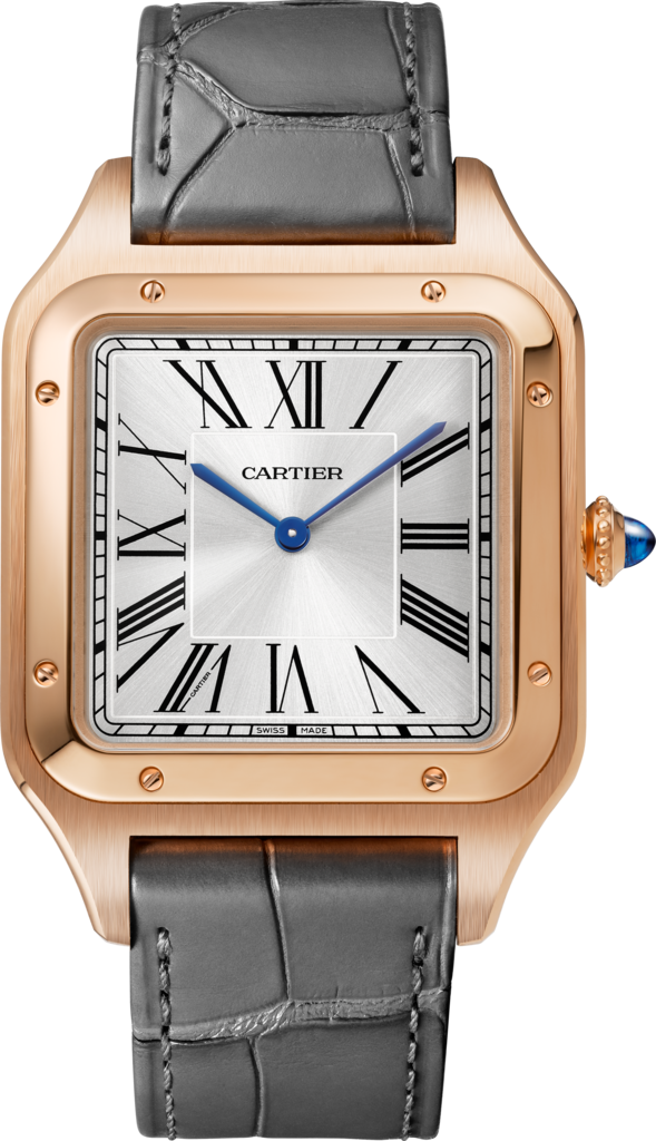 Santos-Dumont watchXL model, rose gold, leather strap