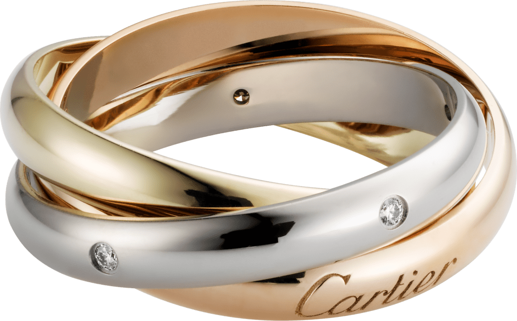 Trinity ringWhite gold, yellow gold, rose gold, diamonds