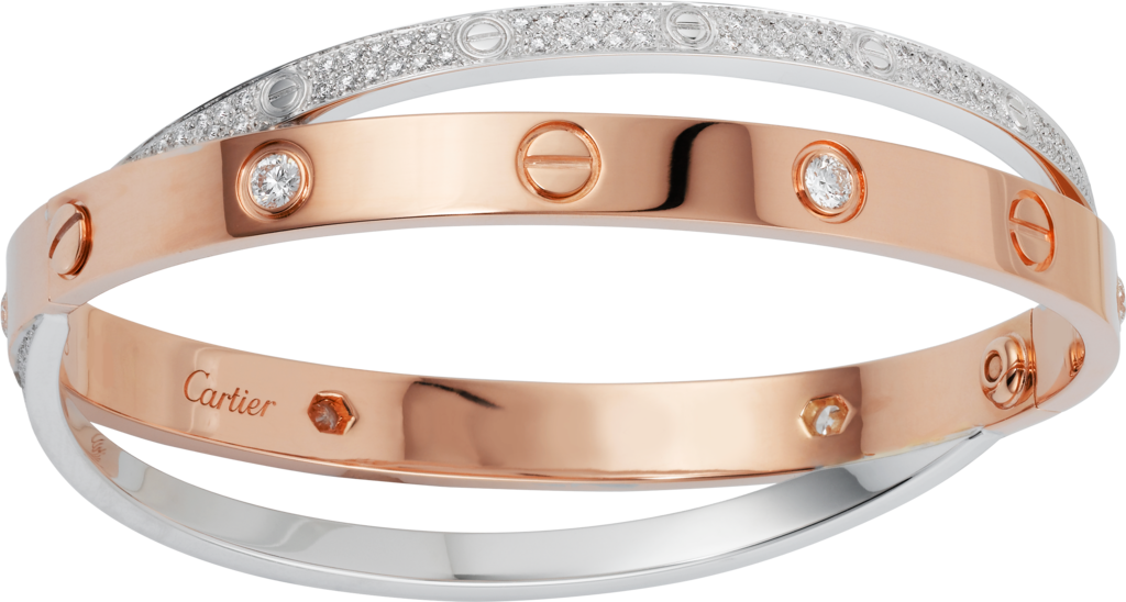 Love bracelet, diamond-pavedRose gold, white gold, diamonds