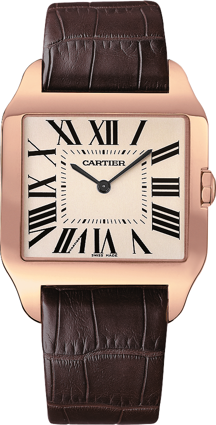 Santos-Dumont watchLarge model, rose gold, leather, sapphire