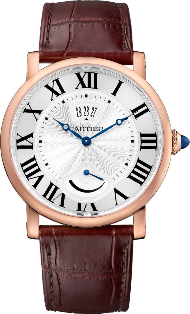 Rotonde de Cartier watch, Calendar Aperture and Power Reserve40mm, hand-wound mechanical movement, rose gold, leather